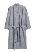 Linen-blend dressing gown - Anthracite grey - Home All | H&M CN 1